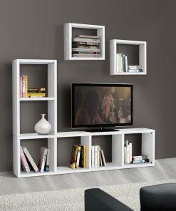 art.569 - Libreria porta TV bianco frassinato